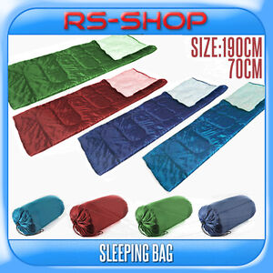 190x70CM-150GSM-Adult-Single-Camping-Sleeping-Bag-Blue-Green-Red-with-Carry-Bag