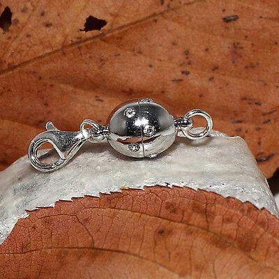 Vario Magnet Schließe Magnetverschluss Zirkonia rhodiniert  Karabiner 925 Silber