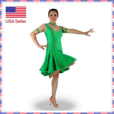 L203 Small US0-4 Latin Rhythm Salsa Show Case Competition Dance Dress - Salsa Costume