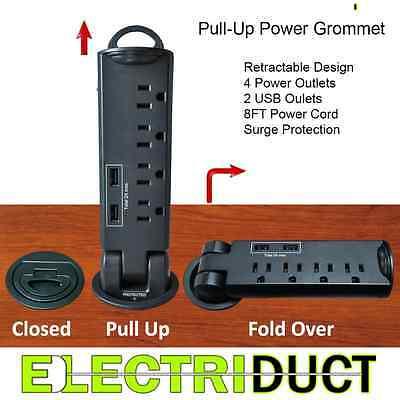 Desktop Desk Outlet Table Pull-Up 4 AC Power & 2 USB Tap Grommet Surge Protector