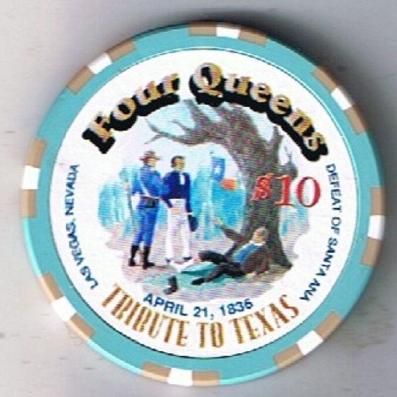 Four Queens Tribute To Texas Defeat Of Santa Ana $10.00 Casino Chip Las Vegas