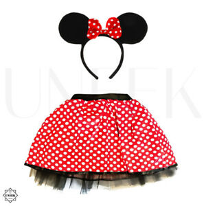 Ladies Minnie Mouse Polka Dot Tutu Skirt & Bow Headband Fancy Dress Costume