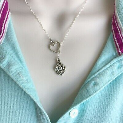 Beautiful ROSE for a Lady Silver Lariat Y