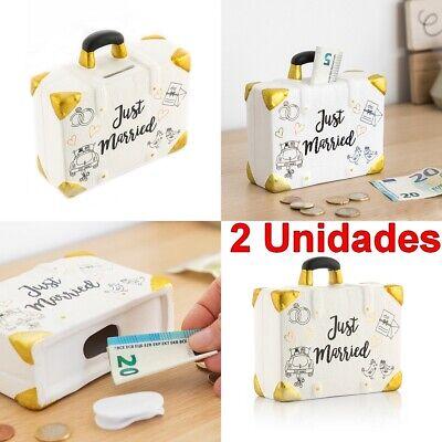 2 x Hucha maleta Just Married recién casados, boda, 14 x 13 x 5 cm, cierre tapón