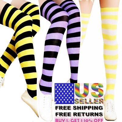 Women Stocking Socks Cotton Nylon Strip Over Knee Long Sports Tights Thigh High - Knee Sock Tights