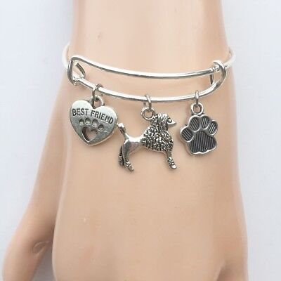 Poodle Dog My Best Friend  Charms Adjustable Silver Bangle