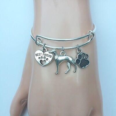Greyhound Dog My Best Friend  Charms Adjustable Silver Bangle