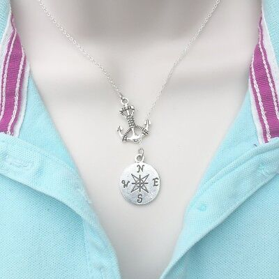 Mentor Gift: Silver Anchor and Compass Lariat Style Y Necklace. - Anchor Gifts