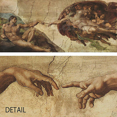 "60""x26"" THE CREATION OF ADAM by MICHELANGELO Repro CANVAS"
