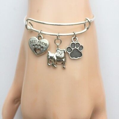Pit bull Dog My Best Friend  Charms Adjustable Silver Bangle