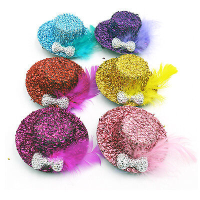 Top Hat For Kids (6Pcs Children Different Color Feather Top Hat for)