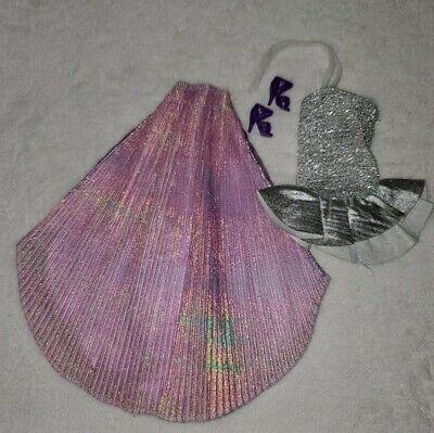 Vintage Barbie Jewel Secrets Purse Skirt Iridescent Purple Metallic Top