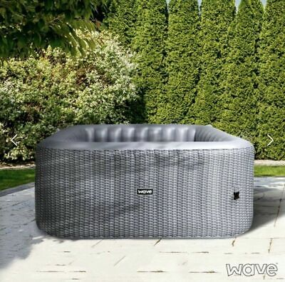 Luxury Inflatable Hot Tub Spa 4 Person Grey Rattan RRP £1079 (Read description)