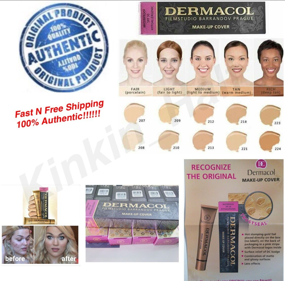 Dermacol high cover makeup foundation hypoallergenic waterpr