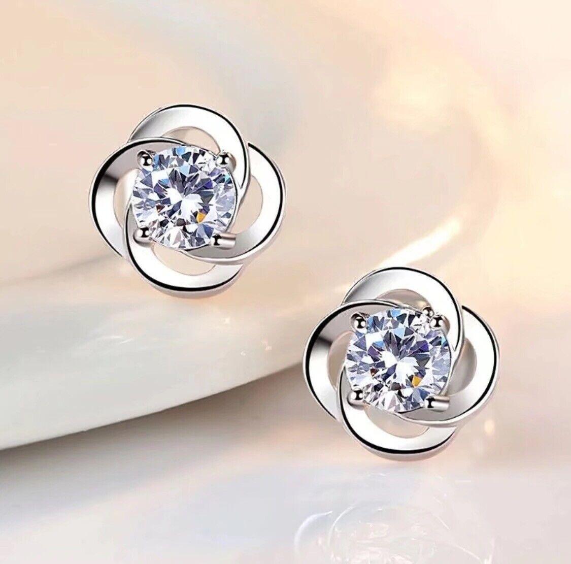 Jewellery - Crystal Swirl Stone Stud Earrings 925 Sterling Silver Women's Jewellery Gift Uk.