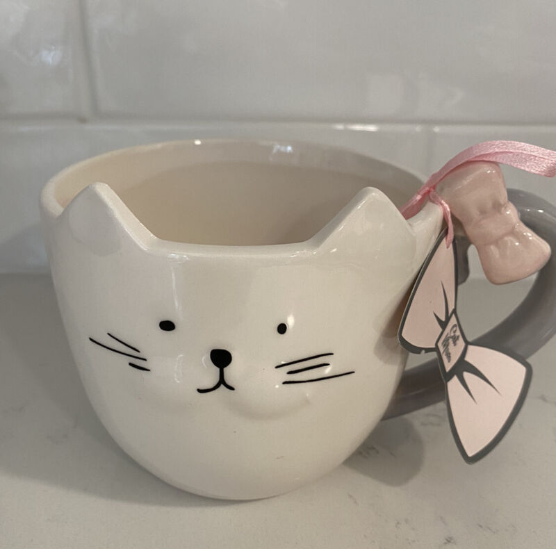 NEW 10 Strawberry Street Whimsical Cupboard White And Pink Cat Mug