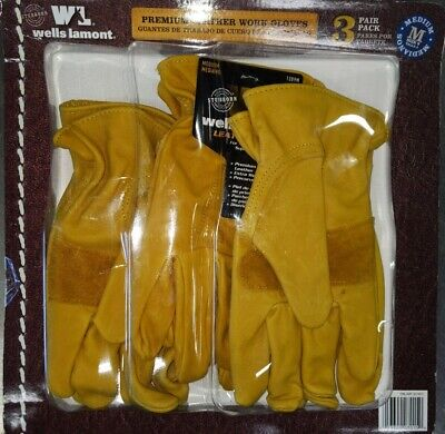 Wells Lamont Premium Leather Work Gloves 3 Pair Pack - Medium