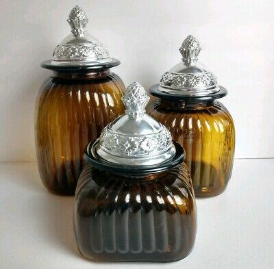 Artland Glassware Set of 3 Kitchen Canisters Amber Glass Pineapple Pewter -