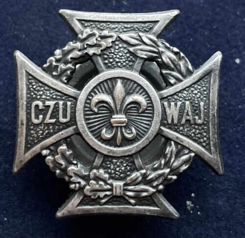 Poland Polish CZU WAJ Boy Scouts Screwback Pin Badge
