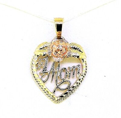 #1 MOM DIAMOND ACCENTED MULTI-TONE HEART PENDANT REAL SOLID 10 k GOLD 1.2 g