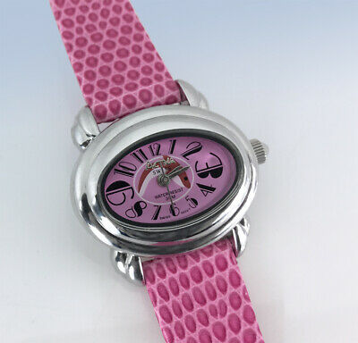 Activa by INVICTA Swiss Quartz Silver-Tone DOLPHIN Dial Pink Leather WATCH