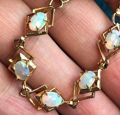 (10k Yellow Gold Bracelet w Australian Lightning Ridge Crystal Jelly Opals--K1L00)
