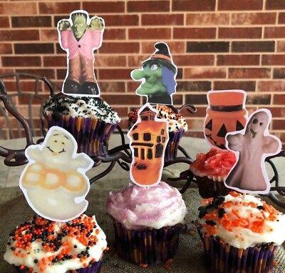 6 Handmade Halloween Cupcake Toppers,Appetizer Picks - Frankenstein Halloween Cupcakes