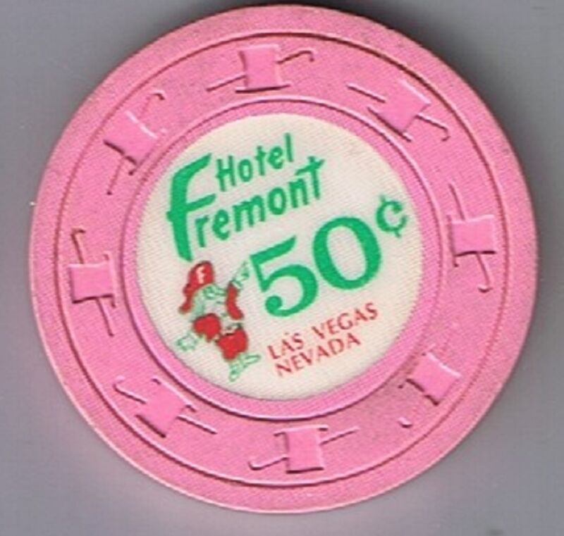 Hotel Fremont 50¢ Pink Casino Chip Large Letters Las Vegas Nevada