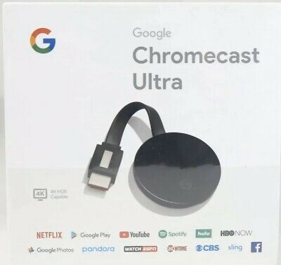 Google Chromecast Ultra 4K Digital Media Streamer - Black (GA3A00403A14) SEALED