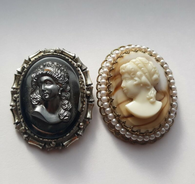 2 Piece Lady Silhouette Brooch Unmarked Vintage