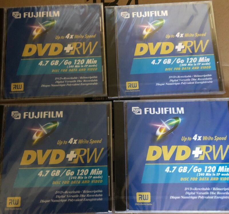 Lot ~ 4x FUJIFILM DVD-RW 4.7 GB / 120 Min. Re-Recordable Data & Video Discs NEW