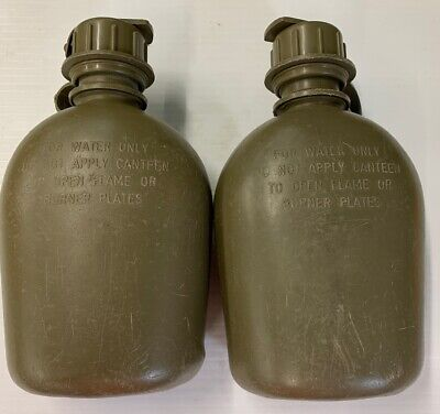 GENUINE US Military 1 QUART QT CANTEEN Hard Plastic OD 1QT w NBC M-1 Cap VGC