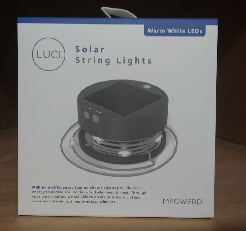 LUCI Solar String Lights w/ Charger Compact Warm White LED Lasts 20hrs! MPOWERD