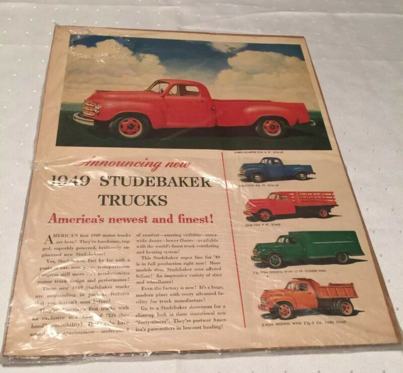 1949 STUDEBAKER New TRUCKS Everyday to Commercial Advertising Page LIFE Magazine