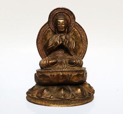 Antique Bronze Golden Buddha Sino-Tibetan Teaching Tibet 18/19e