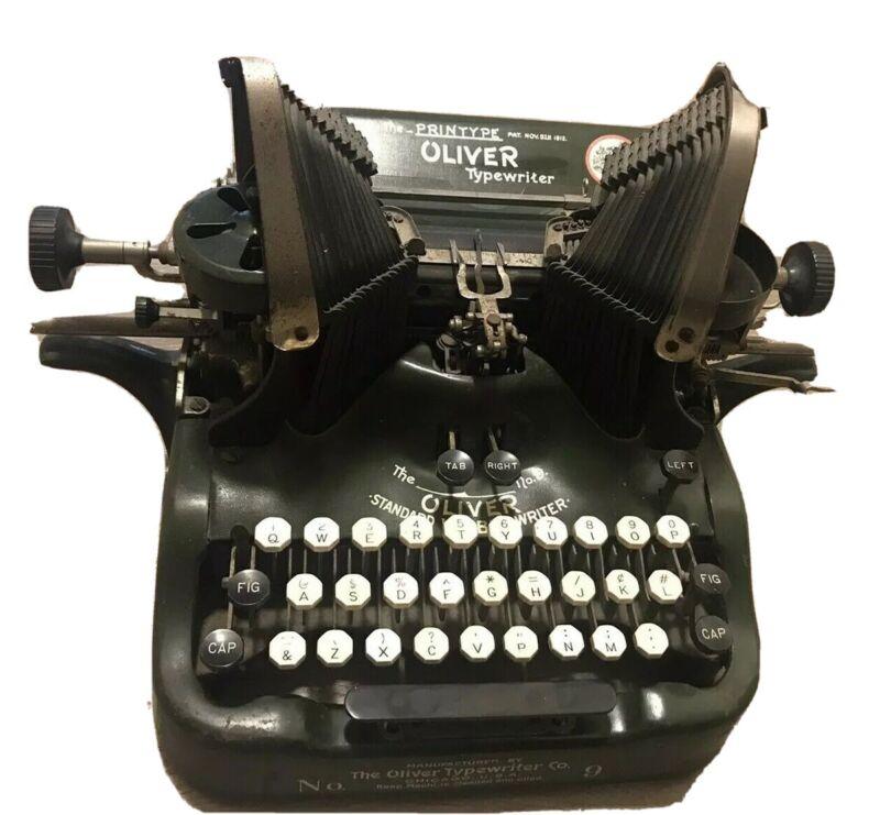 The Printype Oliver Typewriter Co. No. 9 Standard Visible Typewriter Antique!