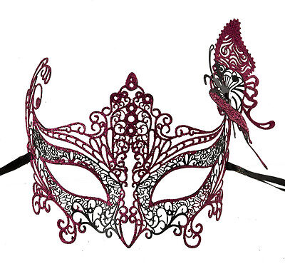 Mask from Venice Lace Metal Butterfly Zelia Square Perf Peep Womens Pink Fuschia