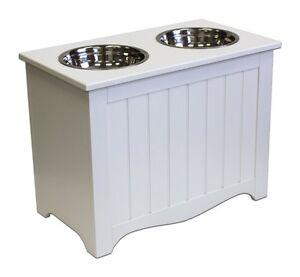 raised white large dog double feeder bowls food storage pet feeding raiser new ebay. Black Bedroom Furniture Sets. Home Design Ideas