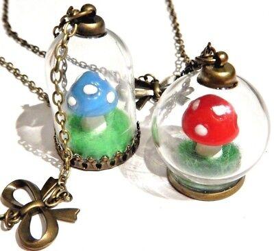 MUSHROOM TERRARIUM PENDANT necklace kitsch Alice in Wonderland toadstool jar H4 - Mushroom Alice