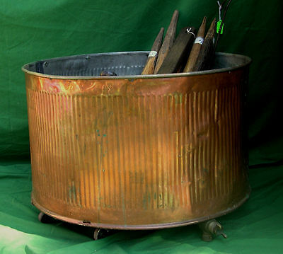 PickUpOnly Antique 23 In Diam Copper Tin Washtub with Ridges and Rolling Device