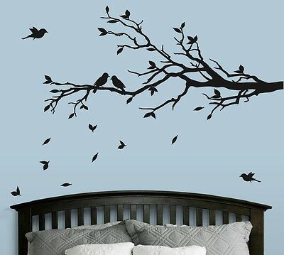 Tree Branch with 10 birds Wall Decal Deco Art Sticker Mural in BLACK
