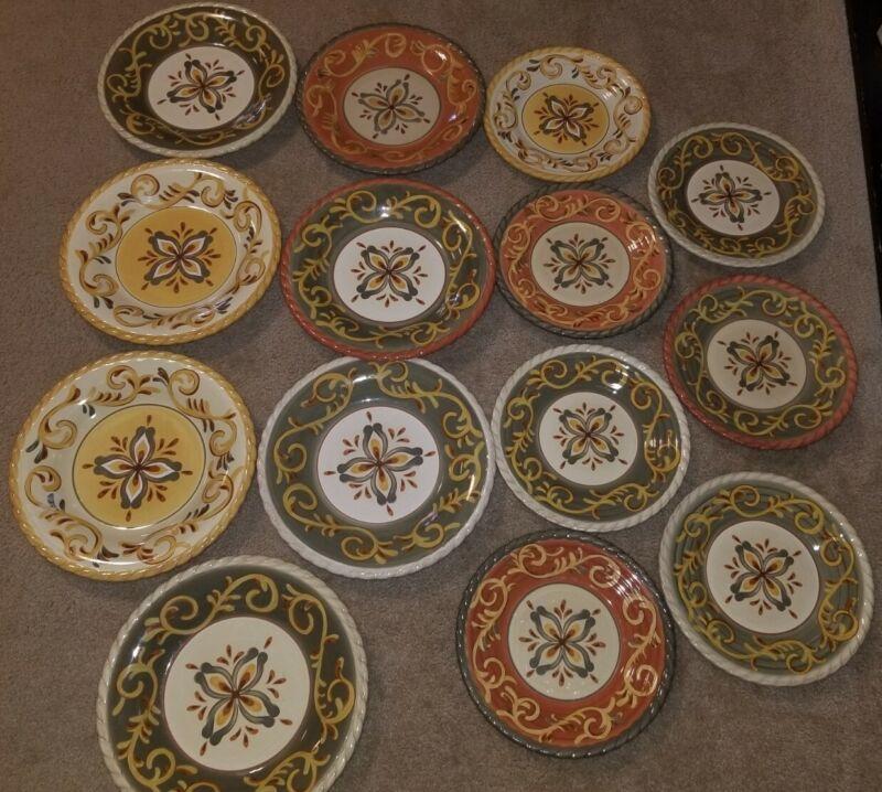 "14 Artimino Tuscan Countryside Sienna Sage Dinner Plate, (7)11.5"" & (7) 9.5"""