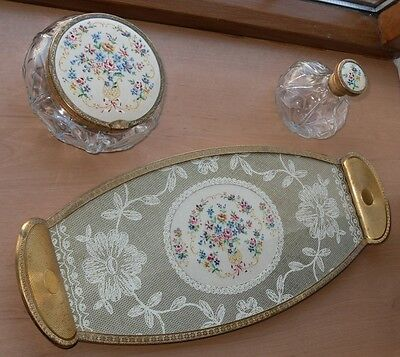 Vintage 3 Piece Petit Point Vanity / Dressing Table Set
