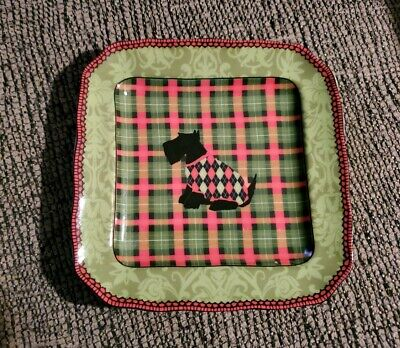 222 Fifth Scottish Terrier-Scotty Dog Plaid Argyle Xmas Bread Plate Fine China 222 Fifth China