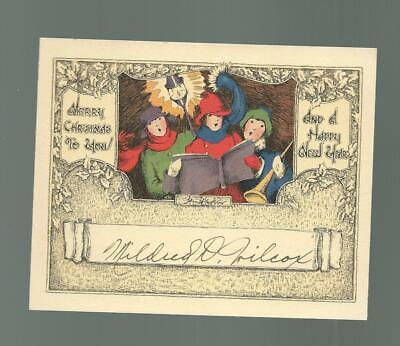 Vintage Christmas Card 3 Carolers Sing By Lamp Post BRIGHT