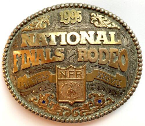 1995 National Finals Rodeo Sterling SIlver 10K Belt Buckle