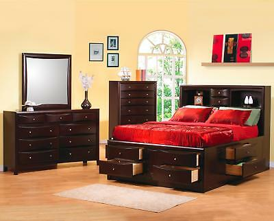 4 PC QUEEN BOOKCASE STORAGE BED N/S DRESSER MIRROR BEDROOM FURNITURE SET (Bookcase Bed Set)