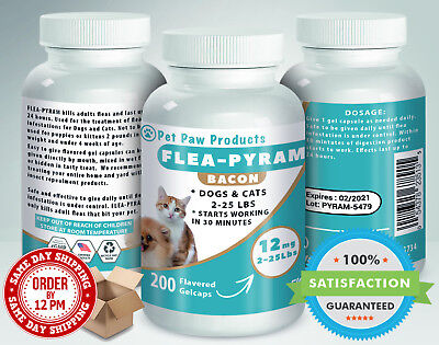 200 CAPSULES Flea Killer For DOGS and CATS 2-25 Lbs 12 Mg BACON Flavored