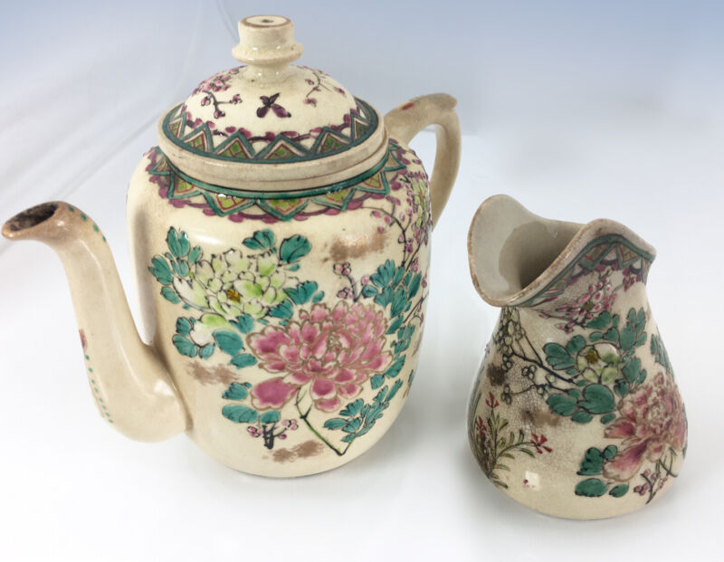 Antique Japanese Satsuma TEAPOT & CREAMER Lovely Hand Painted Floral Earthenware
