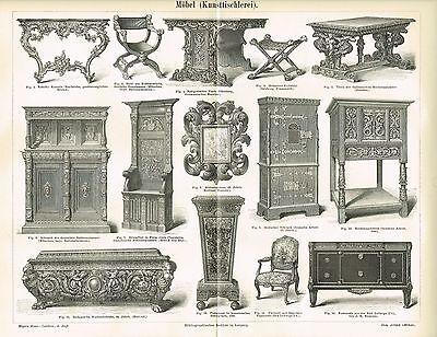 Tafel MÖBEL / KUNSTTISCHLEREI 1889 Original-Holzstich